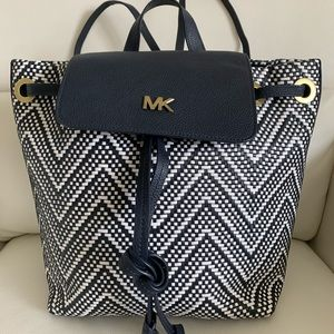 Michael Kors MD Woven Flap Backpack Admiral/OPWT